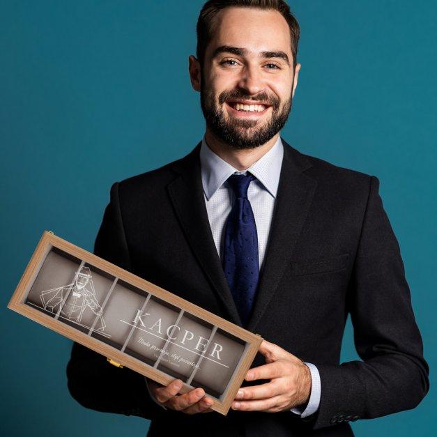 Szkatułka drewniana prostokątna na 6 zegarków z grawerem dla niego