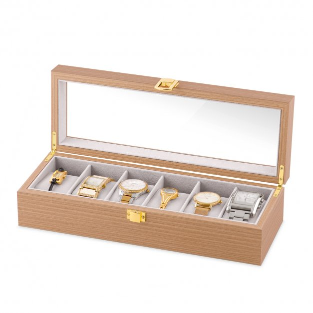 Szkatułka drewniana prostokątna na 6 zegarków z grawerem inicjał dla niego niej pary