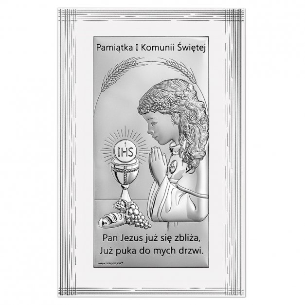 Obrazek Srebrny Pamiątka I Komunii Świętej GRAWER