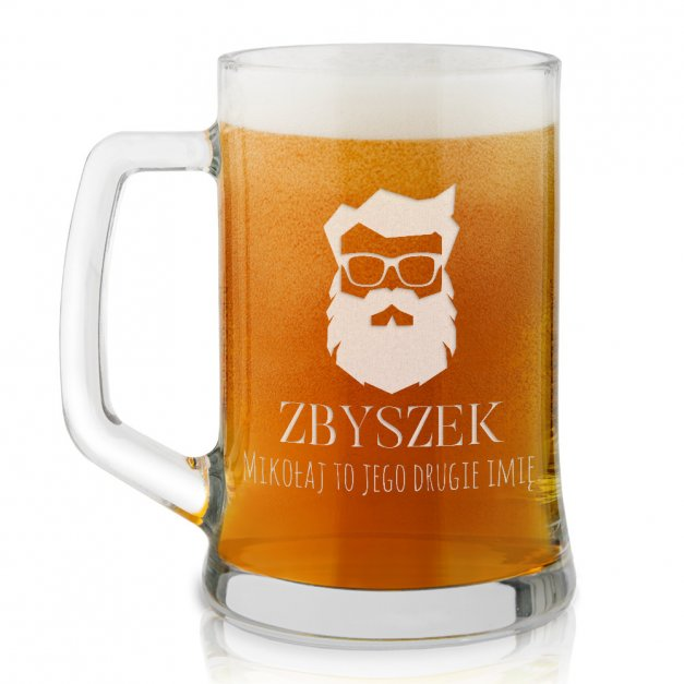 Kufel szklany do piwa z grawerem dla niego na mikołajki święta