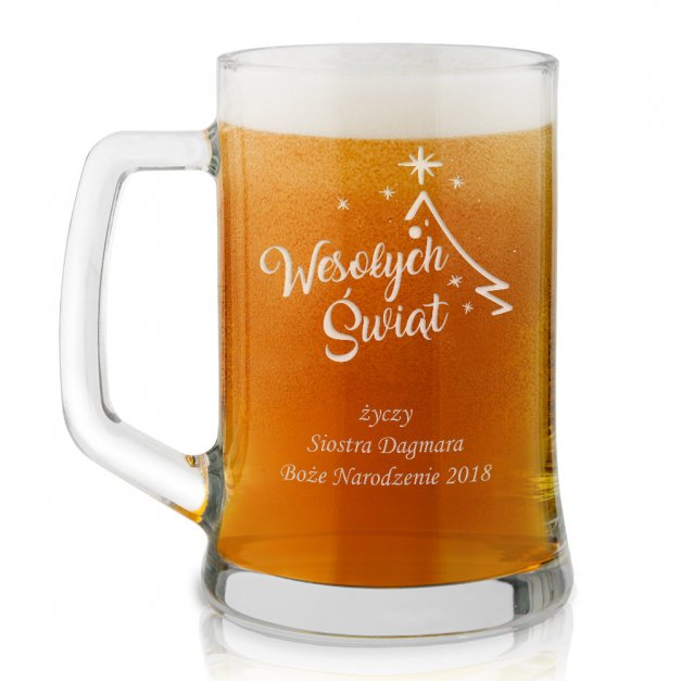 Kufel szklany do piwa z grawerem dla brata na święta
