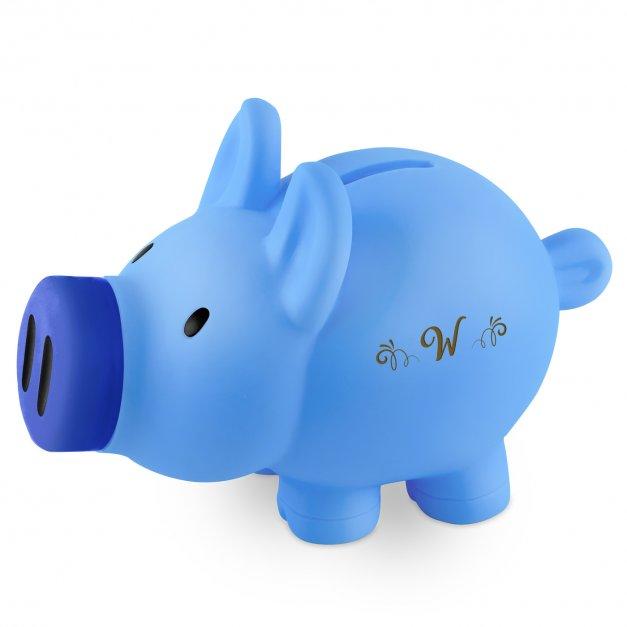 Skarbonka świnka niebieska z grawerem inicjał dla chłopca