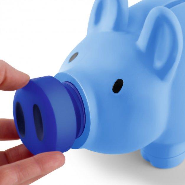 Skarbonka świnka niebieska z grawerem dla chłopca na roczek