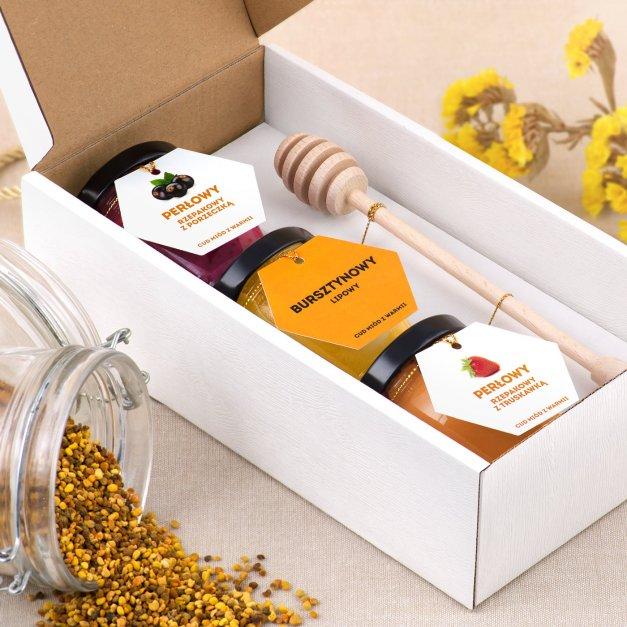 Miód zestaw miodów z nabierakiem w pudełku z nadrukiem dla niej na Dzień Kobiet