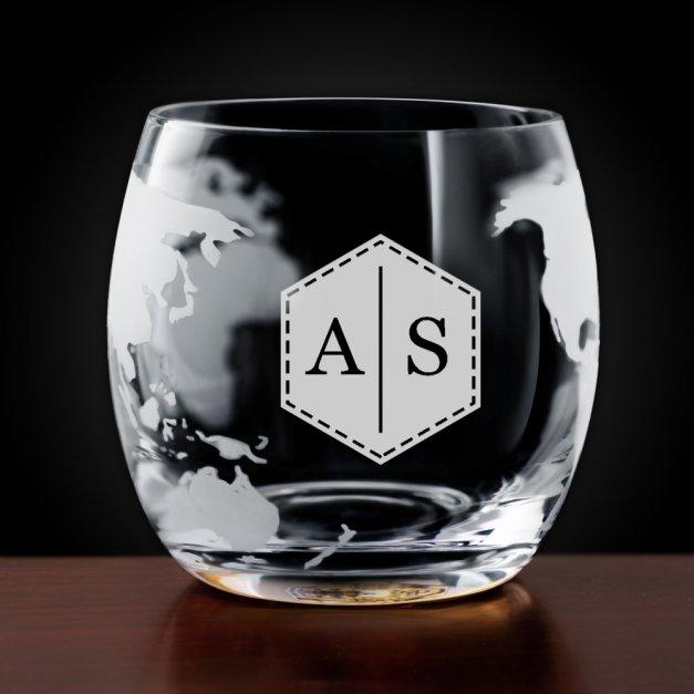 Karafka szklana globus zestaw do whisky szklanki x2 z grawerowanymi inicjałami