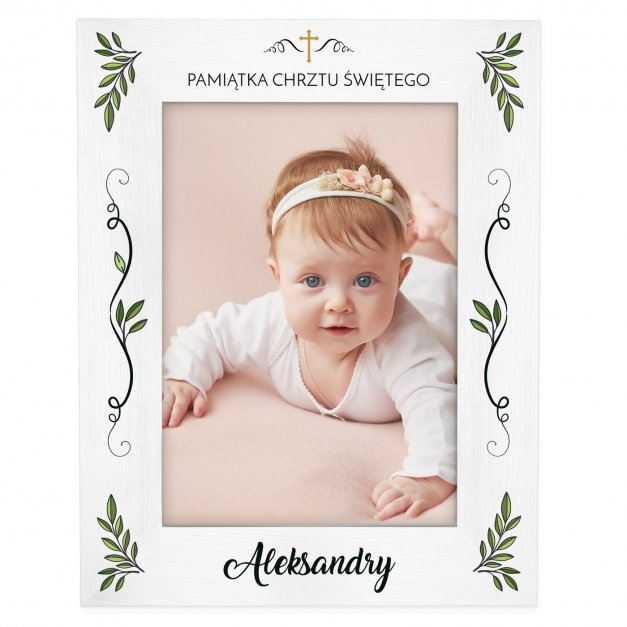 Ramka na zdjęcia biała z nadrukiem dla dziewczynki na chrzest