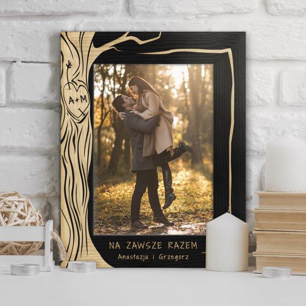 Ramka na zdjęcia czarna z grawerem dla pary na ślub rocznicę walentynki