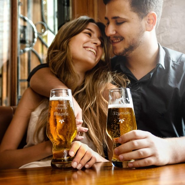 Szklanki do piwa x2 Krosno Splendour z grawerem dla pary na ślub rocznicę