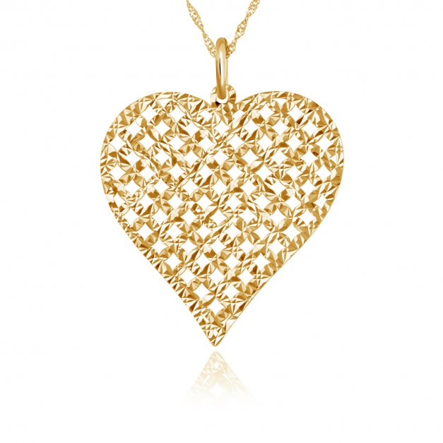 Zawieszka złota serce z łańcuszkiem w pudełku z grawerem dla niej na walentynki rocznicę