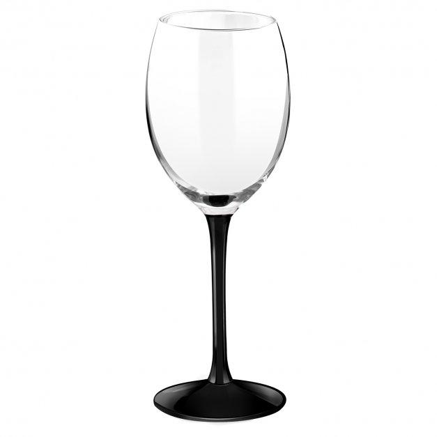 Kieliszki szklane x6 do wina z czarną nóżką onyx z grawerunkiem dla winiarza