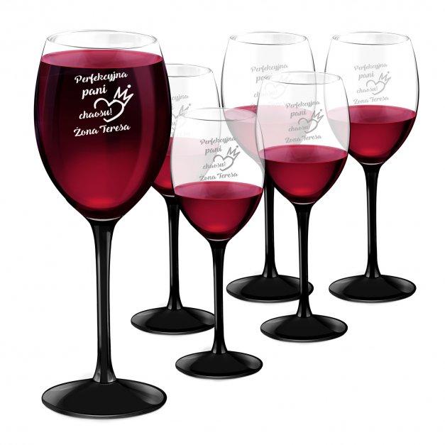 Kieliszki szklane x6 do wina z czarną nóżką onyx z grawerunkiem dla żony