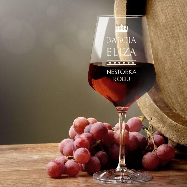 Kieliszki szklane x6 do wina rubin rozmiar XL z grawerunkiem dla babci na Dzień Babci
