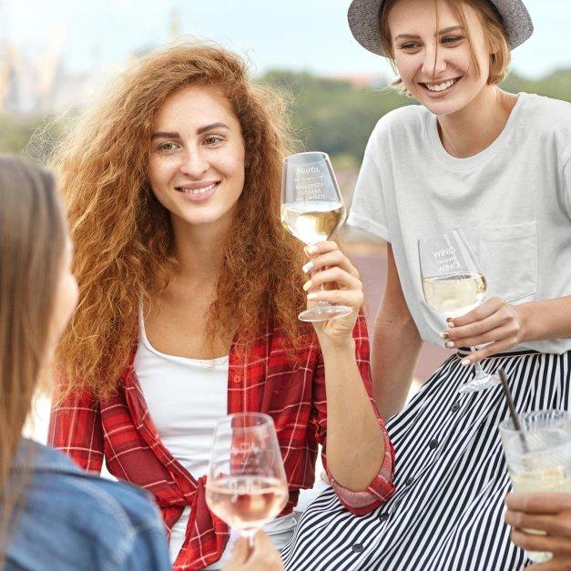 Kieliszki szklane x6 do wina rubin rozmiar XL z grawerunkiem dla singielki