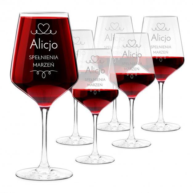 Kieliszki szklane x6 do wina rubin rozmiar XL z grawerunkiem dla dziewczyny żony na walentynki