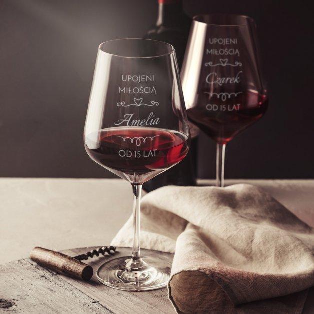 Kieliszki szklane x2 do wina rubin rozmiar XL z grawerunkiem dla pary na 15 rocznicę