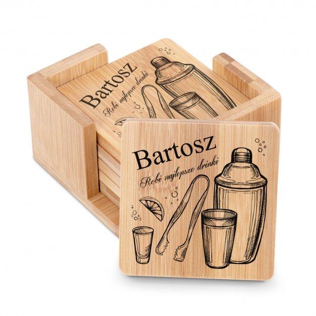 Podkładki bambusowe pod piwo kawę zestaw x6 grawer dla barmana