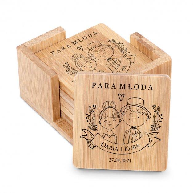 Podkładki bambusowe pod piwo kawę zestaw x6 grawer dla pary na ślub