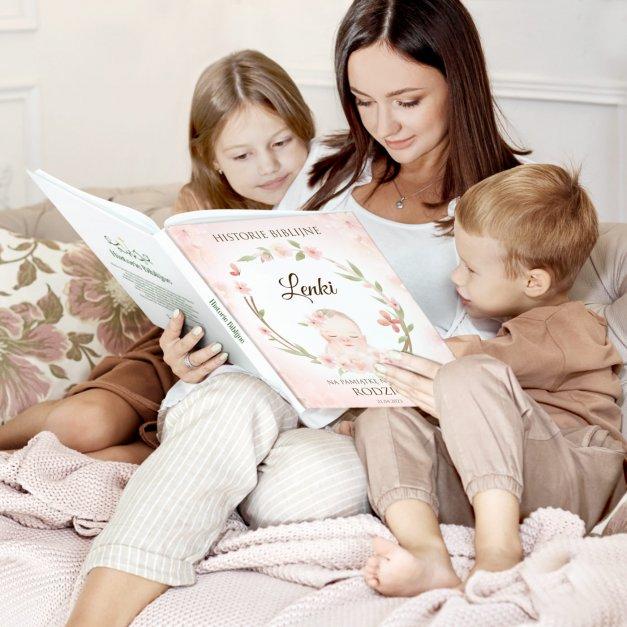 Historie opowieści biblijne z nadrukiem dla dziewczynki na narodziny