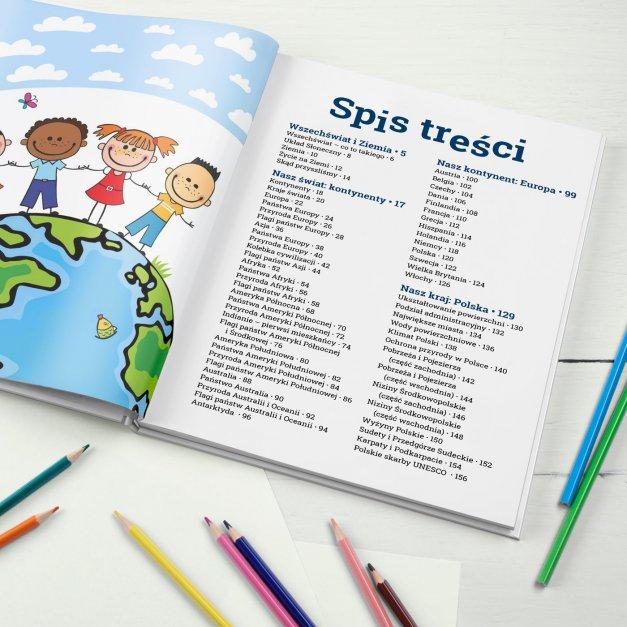 Atlas geograficzny z nadrukiem dla chłopca na pasowanie na ucznia
