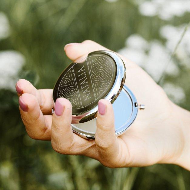 Lusterko okrągłe srebrne z z grawerem dla niej na imieniny