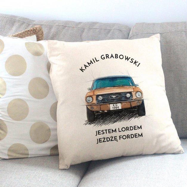 Poduszka z nadrukiem fana Ford Mustang I gen
