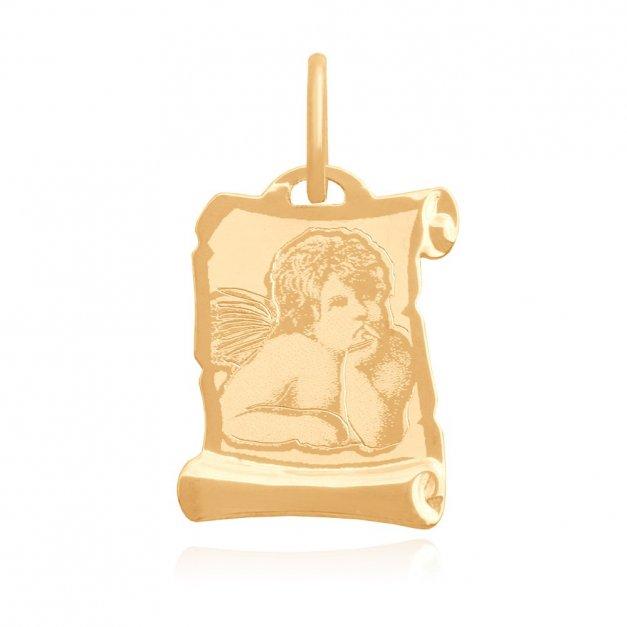 Złota zawieszka 585 z aniołkiem PREZENT GRAWER