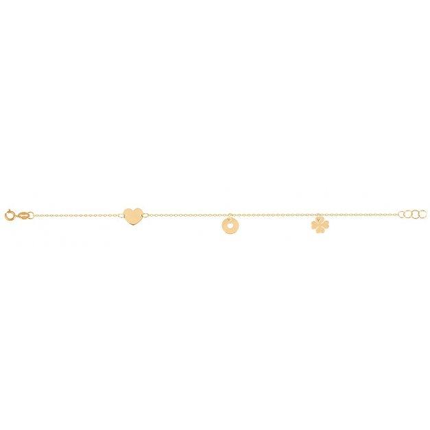 Złota bransoletka 585 łańcuszkowa koniczynka