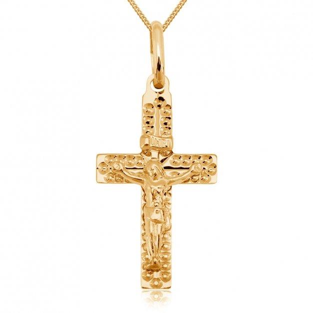 Złoty Komplet 333 Łańcuszek z Krzyżykiem GRAWER ZZ10