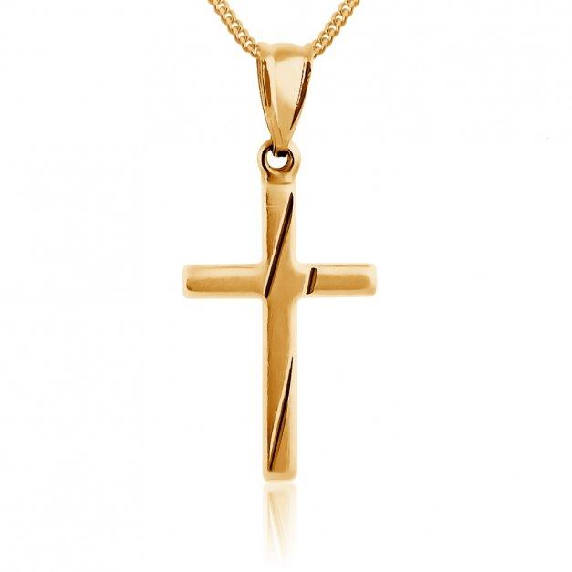Złoty Łańcuszek z Krzyżykiem 585 GRAWER ZZ60