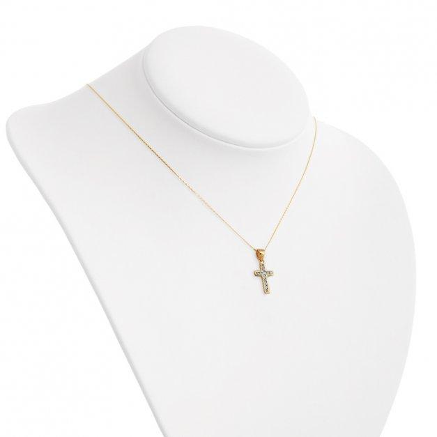 Krzyżyk Złoty z Kryształkami Łańcuszek GRAWER ZZ63
