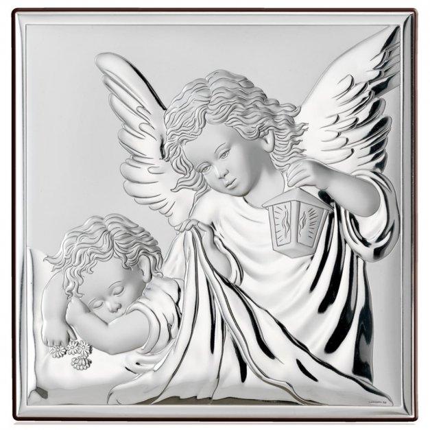 Obrazek Srebrny Anioł Stróż na Chrzest GRAWER