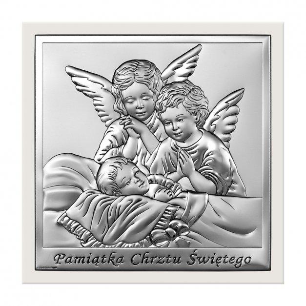 Obrazek Srebrny Pamiątka Chrztu GRAWEREM
