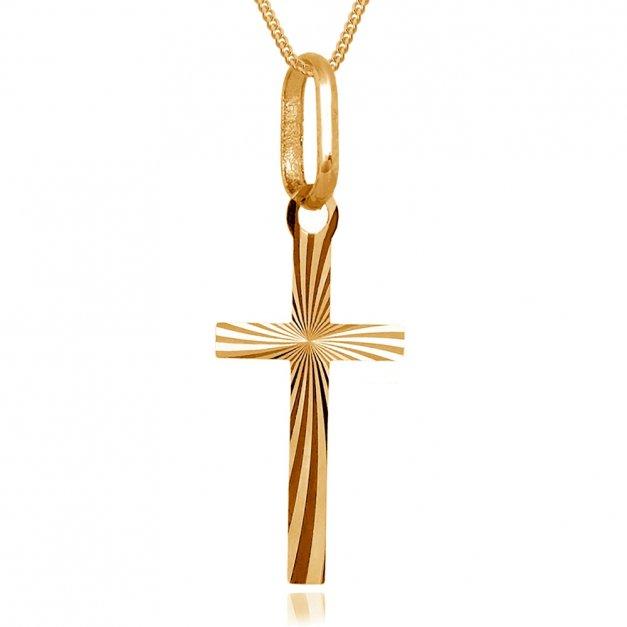 Złoty Krzyżyk Zawieszka z Łańcuszkiem GRAWER ZZ89