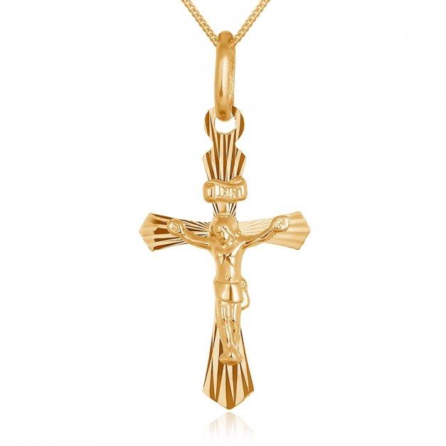 Złoty Krzyżyk z Łańcuszkiem 585 GRAWER ZZ06
