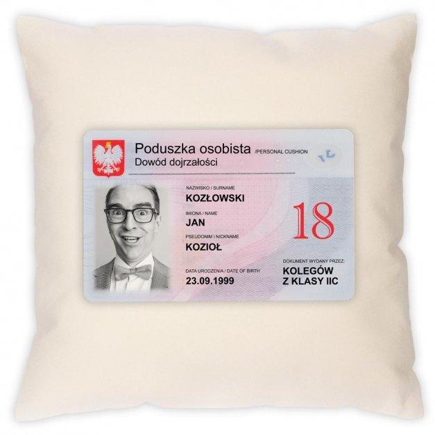 Poduszka personalizowana z nadrukiem DOWÓD OSOBISTY