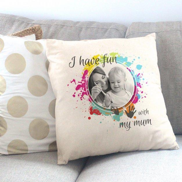 Poduszka personalizowana z nadrukiem ZABAWA Z MAMĄ