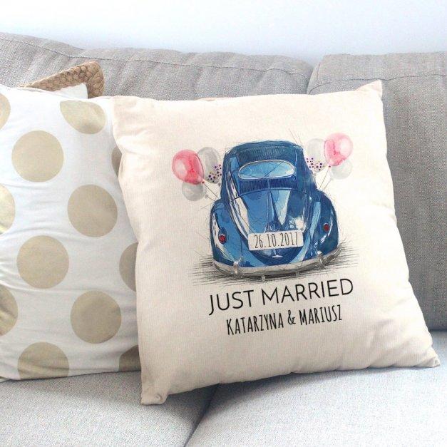Poduszka personalizowana z nadrukiem JUST MARRIED
