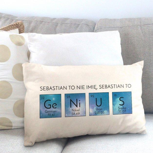 Poduszka personalizowana z nadrukiem GENIUSZ