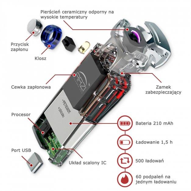 Zapalniczka Plazmowa USB z GRAWEREM RÓŻA