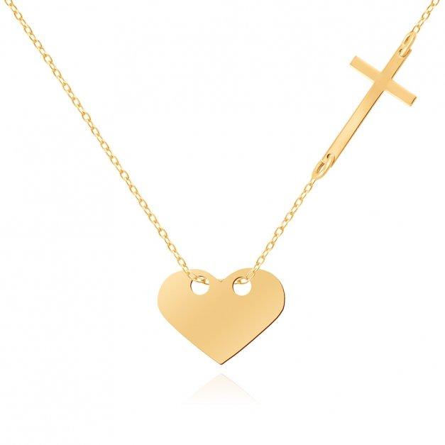 Złoty Naszyjnik Celebrytka 333 Serce Krzyżyk Grawer