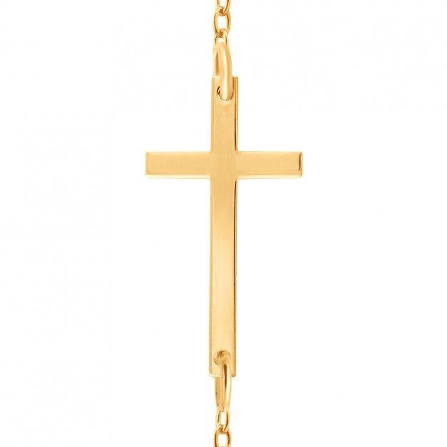 Złoty Naszyjnik Celebrytka 585 Krzyżyk Grawer