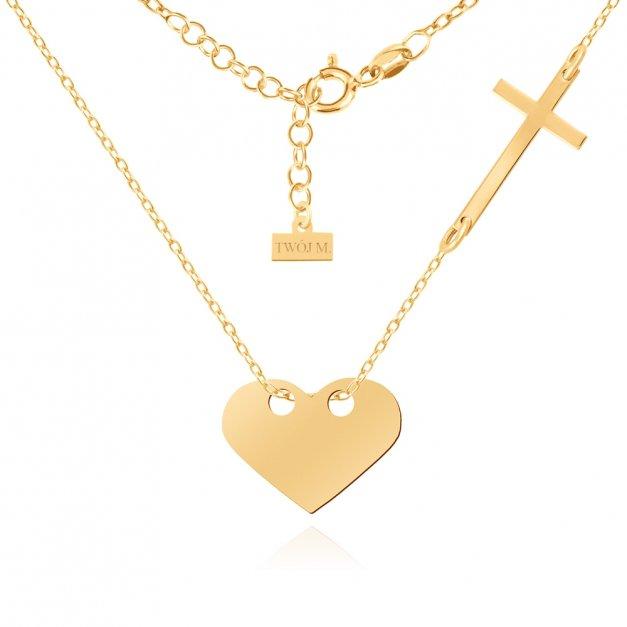 Złoty Naszyjnik Celebrytka 585 Serce Krzyżyk Grawer