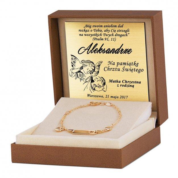 Złota Bransoletka 585 ID Dla Dziecka Serduszka Grawer
