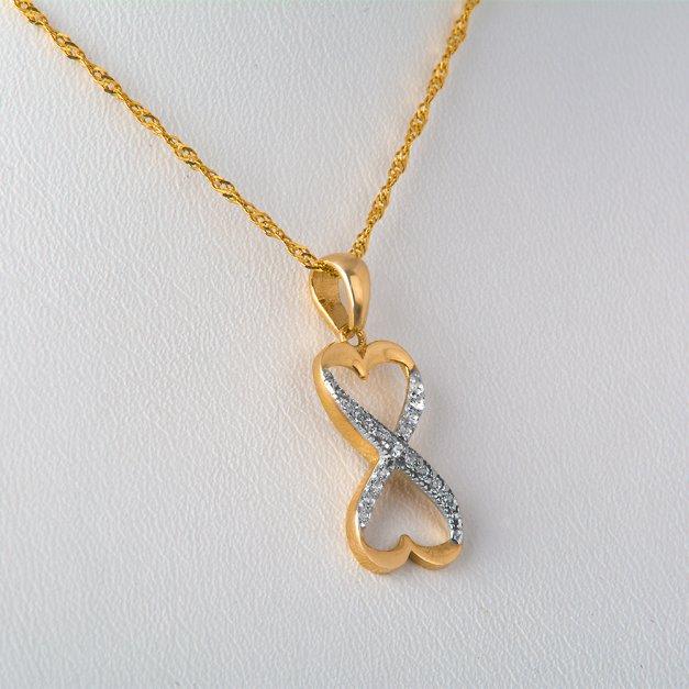 Złoty Komplet 333 Łańcuszek z Zawieszką Serce Nieskończoność Grawer