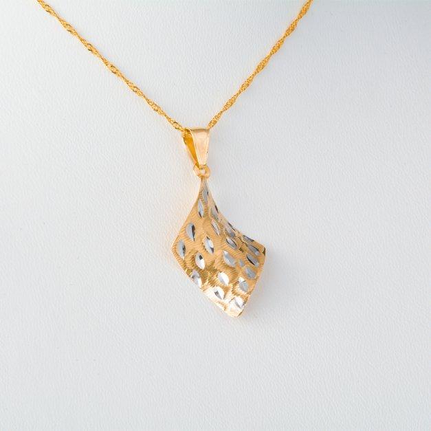Złoty Komplet 333 Łańcuszek z Zawieszką Modern Grawer