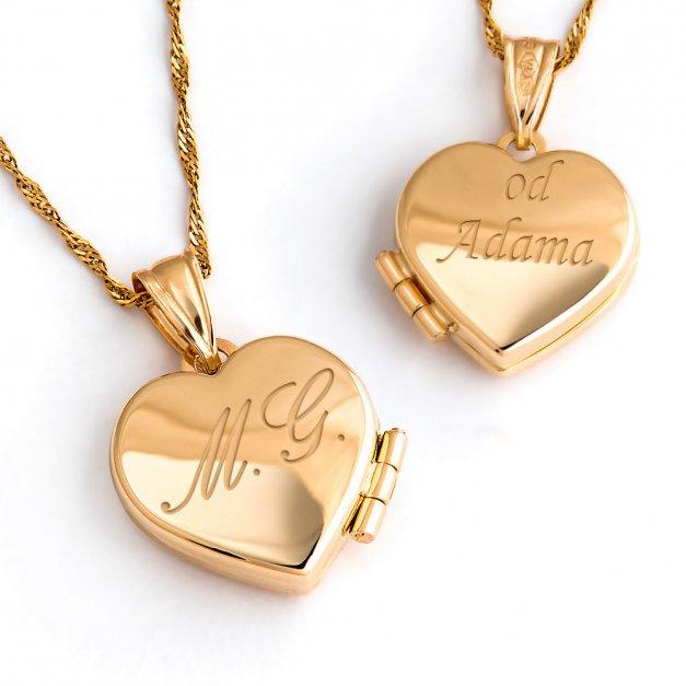 Złoty Komplet 585 Łańcuszek i Puzderko Serce Grawer