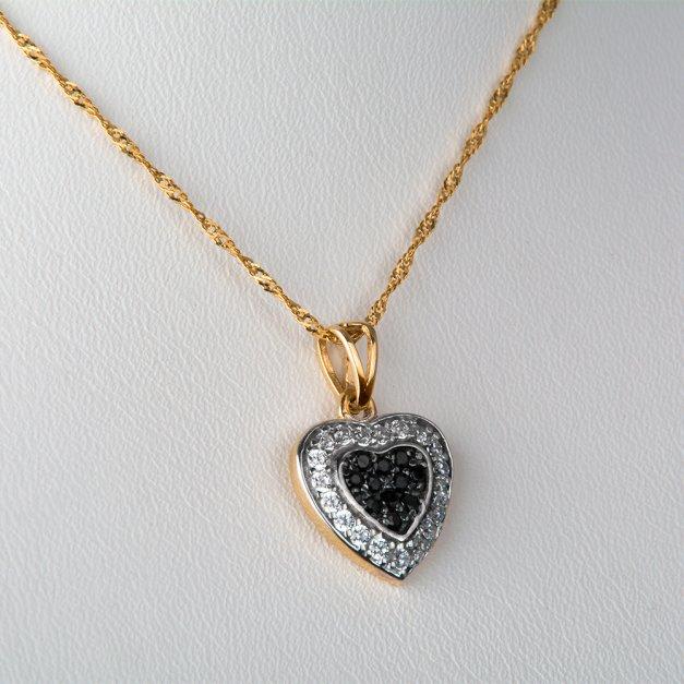 Złoty Komplet 333 Łańcuszek z Zawieszką Serce z Onyxem Grawer