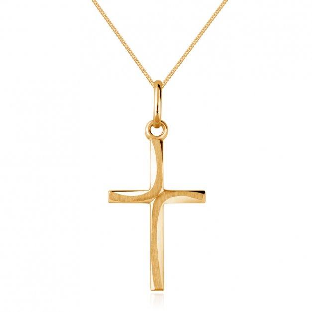 Złoty Krzyżyk 585 Bello z Łańcuszkiem Grawer