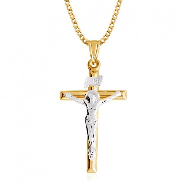 Złoty Krzyżyk 333 z Pasyjką Łańcuszek Grawer
