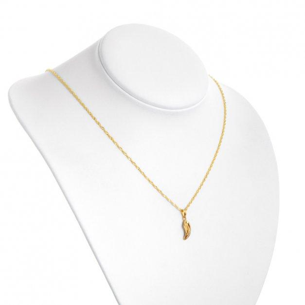 Złoty Komplet 333 Łańcuszek z Zawieszką Kryształki Grawer